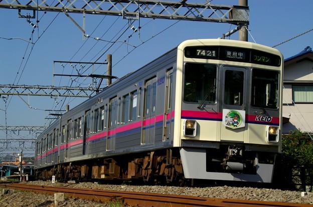 「京王線で東京競馬場に行こう!」キャンペーンHMを掲げた7000系