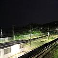 深夜の根府川駅ホーム