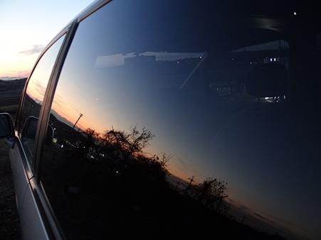 車窓の夕景