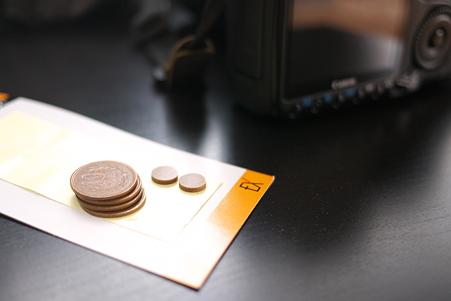 2011.06.17 机 10円×4×8+ゴムクッション