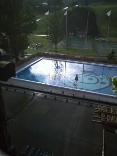 写真: でも、プールはダメ。日が反射してキレイ。